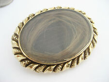 Antique Victorian era Engrave Gold Rock Crystal Hair Locket Mourning Brooch Pin