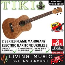 NEW Tiki Mahogany Flame Top Electric Baritone Ukulele w/ Gig Bag (Natural Satin)