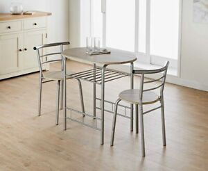 3pc Dallas Beach Effect Dining Set With Handy Storage Shelf Ideal For Your Home