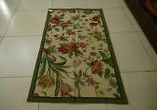 3' X 5'Needlepoint Village Area Rug Hand Knotted Full Floral Vintage Beige Green