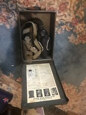 VINTAGE ANTIQUE WILSON TYPE WIG-ABC1 GAS MASK CASE BOX MILITARY & 1946 CANISTER