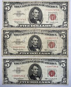 Lot of 3 1963 $5 United States Notes Red Seal Star Notes