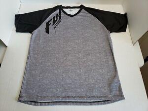 Fly Racing Short Sleeve Motocross MTB BMX Jersey Unisex Adult XXL Gray Black