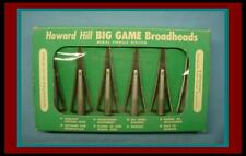 Original Vintage 1958 Howard Hill Box of 12 Big Game Broadheads Never Used Mint