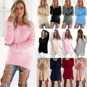Damen Strickpullover Langarm Sweatshirt Pullikleid Sweater Longshirt Jumper DE