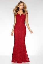 £65 STUNNING EX QUIZ Red Lace Sequin Bardot Fishtail Maxi Evening Dress 10-18