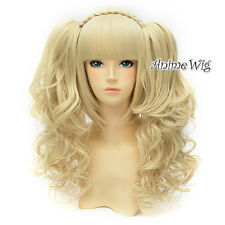 30cm Women Light Blonde Curly Lolita Anime Cosplay Wig Hair + Two Ponytails