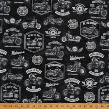 Cotton Retro Motorcycle Vintage Bikes Classic Black Fabric Print by Yard D780.91