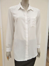 New Look Cream Fine Check Long Sleeved Blouse - size 12