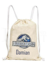Personalised Boys Jurassic World Park Drawstring Canvas Gym/ PE Bag