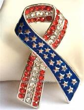 Silver American Flag Ribbon Pin Brooch Plated Crystal Stars July 4th USA Seller
