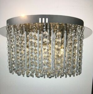 Chrome finish 4 light halogen flush fitting with crystal drops chandelier
