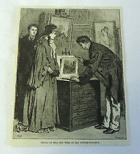 1882 magazine engraving ~ Trying To Sell Her Work At The Picture-Dealer's