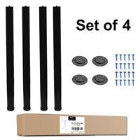 "QLLY 4-Pack 28"" Height Black Metal Desk Legs, Adjustable(+1"") Office Table Legs"
