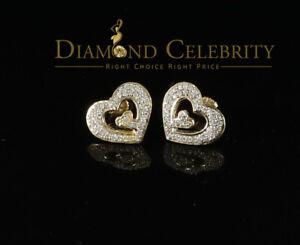 10K Yellow Gold Finish W/ Lab Created Diamond Silver Heart Stud Earrings