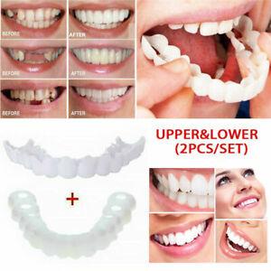 Snap Bottom Upper & Lower False Teeth Dental Veneers Dentures Fake Tooth Kit US