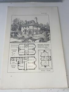 1904 Antique Architecture Maurice Adams Doctor's Cottage Mansfield Notts