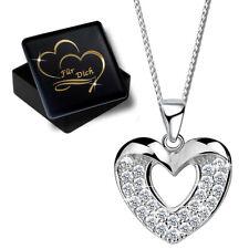 Kette mit Herz Anhänger aus Silber 925er Sterling Schmuck für Frauen Gravur Gold