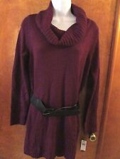 "Ladies ""AB Studio"" Size M, Burgundy, Long Sleeve, Cowl Neck, Belted, Sweater"