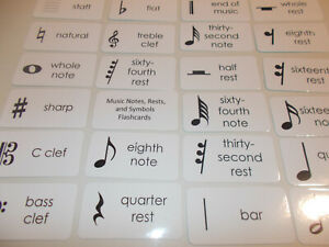 23 Laminated Preschool Basic Music Notes, Rests and Symbols Flashcards.  Educati