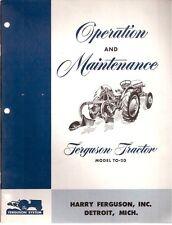 Ferguson TO-20 Tractor Operator's Manual