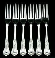 "6 HEAVY VINTAGE SILVER PLATED KINGS PATTERN DESSERT FORKS 7.25"" SHEFFIELD EPNS"