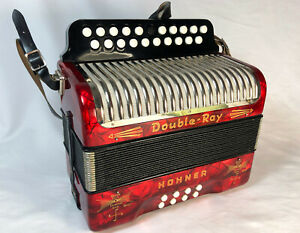 Vintage German Hohner Double Ray Black Dot button accordion PEARL RED Near MINT!