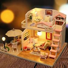 DIY Loft Apartments Dollhouse Wooden Furniture LED Kit Christmas Birthday Gift