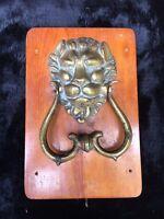 Antique Hand Etched Brass Lion's Head Door Knocker