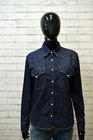 Camicia LEE Donna Taglia L M Maglia Blusa Shirt Woman Cotone Jeans Blu Hemd