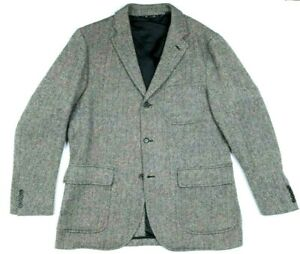 Vintage Polo Ralph Lauren White Black Herringbone Wool Alpaca Blazer Mens sz L