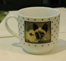 1986 Lowell Herrero Siamese Cat Eyeing Goldfish Tea Cup 2 sided Japan Vandor