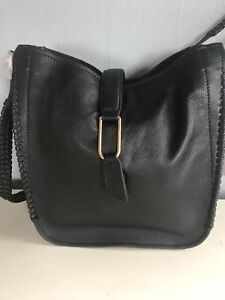 AND/OR John Lewis) Leather Whipstitch Hobo Bag, Black. BNWT