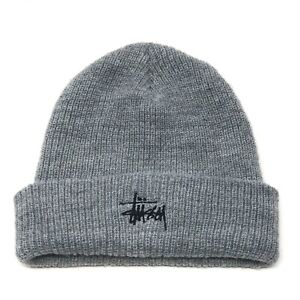 Vintage Stussy Grey Beanie Hat Made in the USA Grunge Skater Snowboarding Hiking