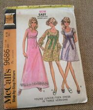 9686 McCalls 1969 Jr/Teen Party Dress High Waist A-Line Short/Long 9-10/30.5