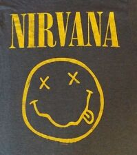 VINTAGE MEDUIM BLUE NIRVANA SMILEY FACE GRAPHIC CREW NECK COTTON BLEND T SHIRT