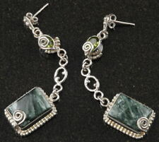 "Large .925 Silver SERAPHINITE & PERIDOT EARRINGS ~ 3"" (75mm)~Up to 23.3g / .83oz"