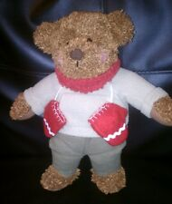 "13"" Hallmark Teddy Mittens Plush Stuffed Christmas Winter Brown Bear"