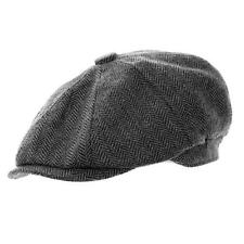 Peaky Blinders Traditional Style Grey Herringbone Tweed Cap Newsboy Gatsby