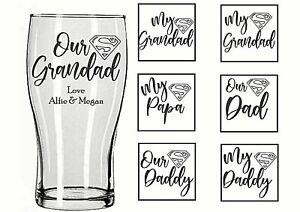 Personalised Engraved PINT GLASS SUPERMAN SUPER DAD DADDY GRANDAD PAPA etc