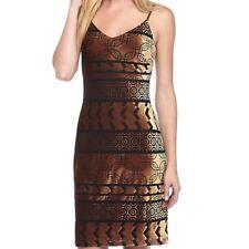 Nicole miller women dress size 14 NWT 115 gold black straps geometric lined