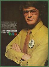 BAN THE BUTTON   Anti-establishment Shirts by h.i.s. - 1969 Vintage Print Ad