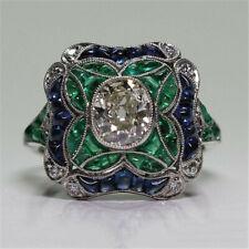 Huge Sapphire 925 Silver Ring Women Jewelry Wedding Engagement Gift Sz 6-10