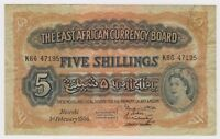 British East Africa Banknote 5 Shillings 1956 P33 VF Queen Elizabeth Rare Lion