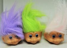 SIX (6) TROLL HEADS   Different Color Hair  NEW   1 1/2 x 2 1/2 inchs