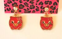 Betsey Johnson Crystal Rhinestone Enamel Red Pig Post Earrings
