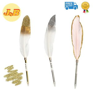 HIGH QUALITY Glitter Feather Pen Guest Wedding Book Novelty Quill PICK COLOUR