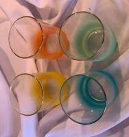 "Libby Multi Color Fade MCM Drinking Glasses Set Of 4 EUC  4 1/4"" Retro"