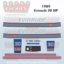 1989 Evinrude 30 HP Outboard Reproduction 15 Piece Marine Vinyl Decals