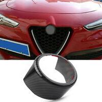 Front Grille Grill Logo Emblem Ring Carbon Fiber Fit Alfa Romeo Stelvio 2017-20